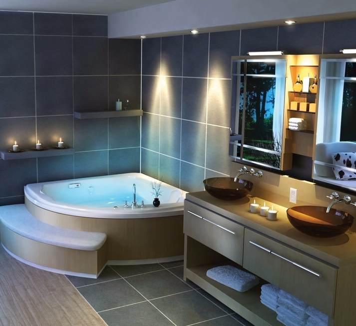 Большая ванная комната с джакузи дизайн
