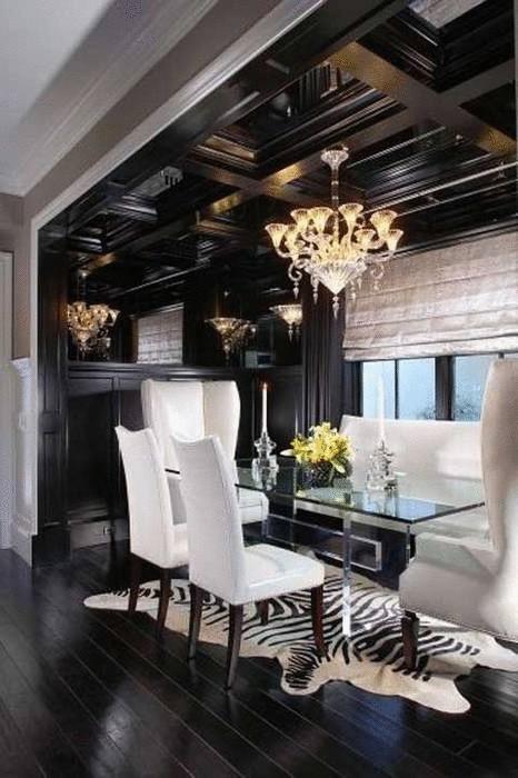 Идея №5. Чёрный потолок выделяет зону столовой