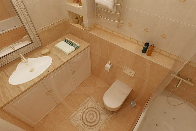 Дизайн ванной комнаты и туалета 3 кв м