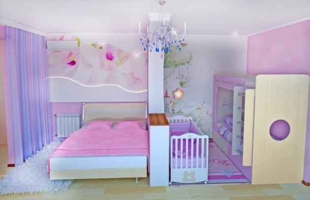 Дизайн и спальни и детской в одной комнате
