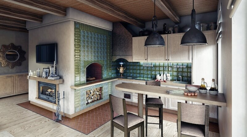 Кухня с печкой в частном доме дизайн