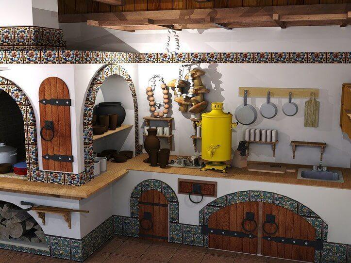 Кухня с печкой – неповторимый дизайн