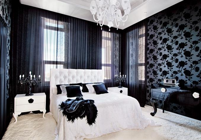 Дизайн черно белой спальни фото