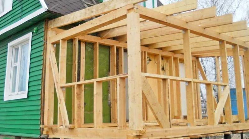 Каркасная пристройка к деревянному дому  пошагово видео