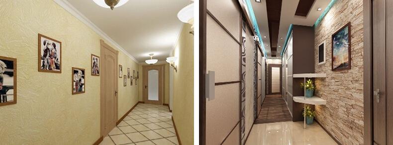Дизайн интерьера длинного коридора