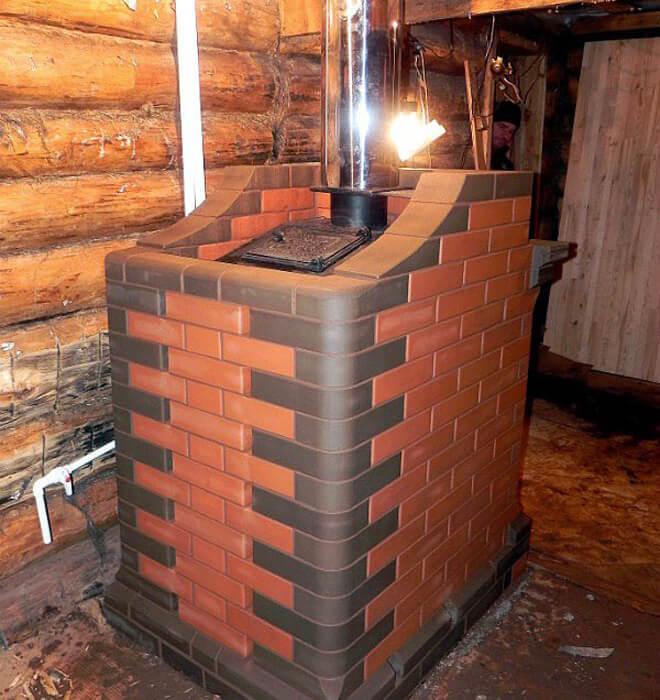 печь для бани обложенная кирпичом