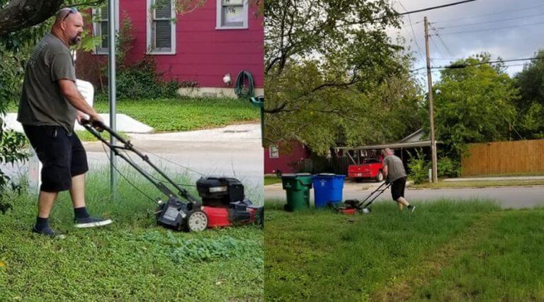 Мой папа стрижет газон у дома моей мамы