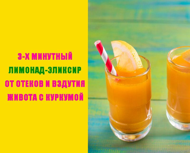 3-х минутный лимонад-эликсир от отеков и вздутия живота с куркумой