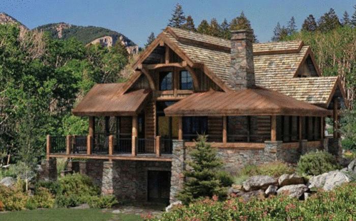 Огромный дом из дерева и камня
