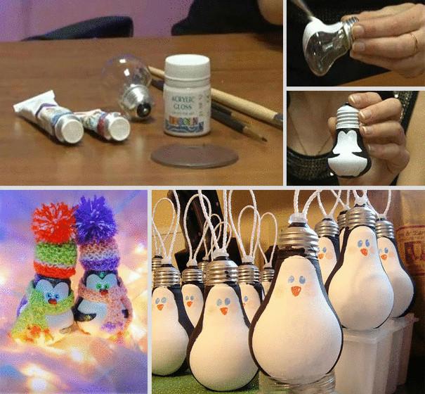 Новогодние игрушки своими руками - пингвин из лаппочки