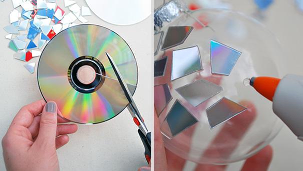 Новогодние игрушки своими руками из компакт диска