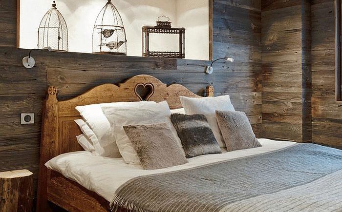 Рустикальные элементы в интерьере спальни