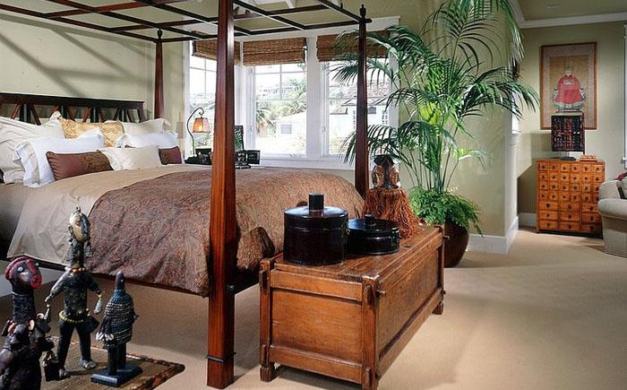 Тропические мотивы в интерьере спальни