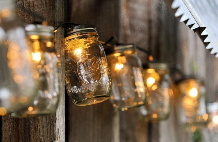 Лампы из старых банок.
