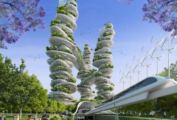 Farmscraper towers.