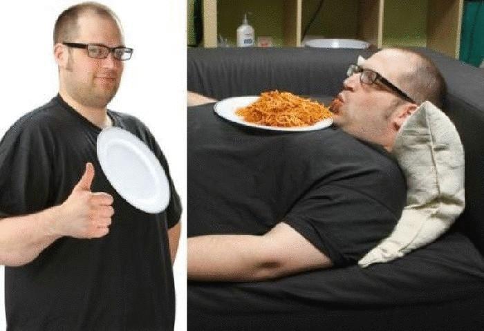 С такой тарелкой можно наслаждаться спагетти и смотреть любимые телепередачи, лежа на диване.
