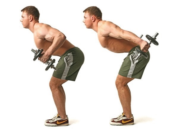 Отведение прямых рук назад и вверхНаклонитесь вперед, держа ровную спину, и слегка согните ноги. Из этого положения отводите прямые руки назад, направляя их как можно ближе к корпусу. Постойте так несколько мгновений, не расслабляя мышцы спины, затем вернитесь в исходное положение.