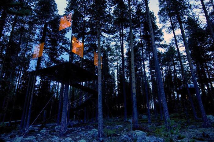 Небольшой зеркальный домик на дереве.